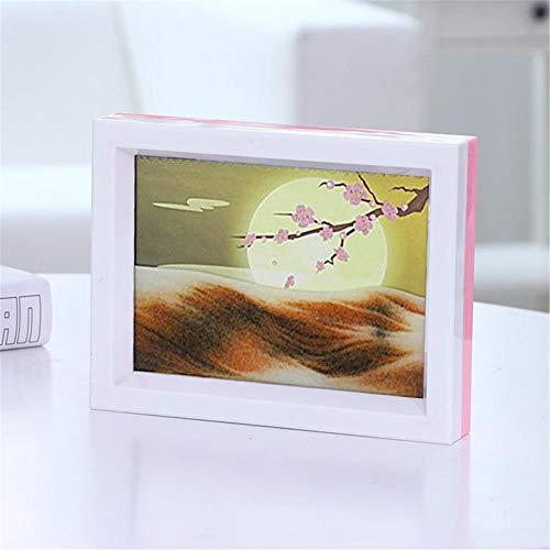 Primst Moving Sand Paintings, imagen dinámica de arte de arena, decoración de mesa para oficina/sala de estar, buen regalo (18 x 14 cm), luna y flor