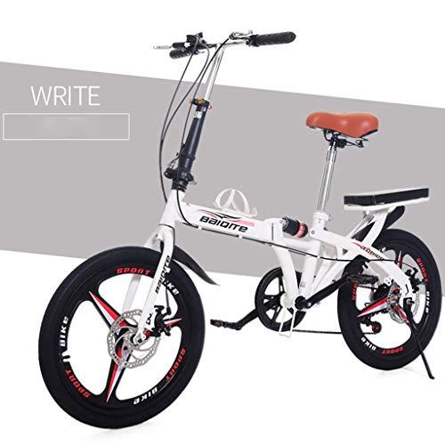 SatinGold 20 Zoll Outroad Mountainbike, Erwachsene Klapp Faltbares Fahrrad Klapprad Kinderscheibenbremsen Bike - Schwarz, Weiss (Weiss)