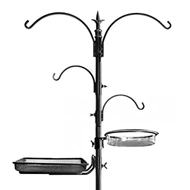 Ashman Premium Bird Feeding Station Kit, 22  Wide x 92  Tall (82  above ground height), A Multi Feeder Hanging Kit and Bird Bath For Attracting Wild Birds