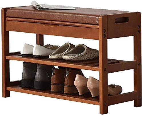 Wddwarmhome Banco de Zapatos de Madera Maciza Multifunción Puede Colocar Almacenamiento Sofá Sofá Zapatos de Almacenamiento Banco Pequeño Zapato