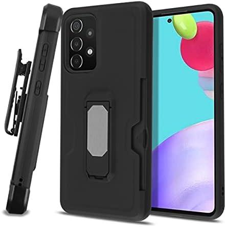 AmeriCase   Samsung Galaxy A52 5G Combat Hybrid Defender Phone Case W/Belt Clip Holster, Card Wallet for Samsung Galaxy A52 5G (Black)