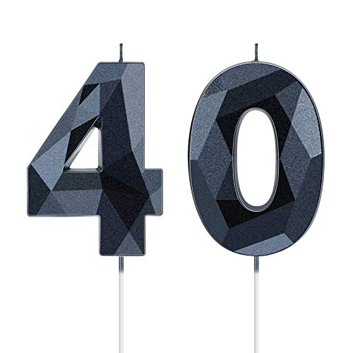 40th Birthday Candles, 3D Diamond Shape Number 40 Candles Happy Birthday Cake Topper Numeral Candles for Birthday Party Wedding Decoration Reunions Theme Party