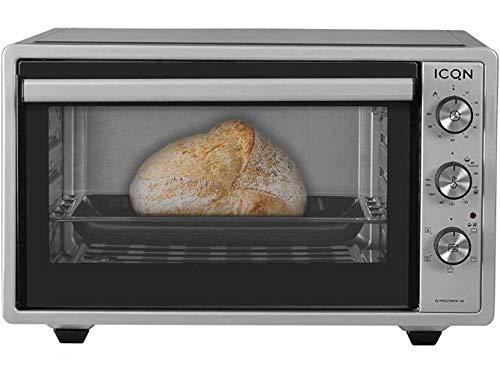 ICQN Minibackofen mit Umluft 42 Liter | Pizza-Ofen | Mini Ofen | Innenbeleuchtung | Doppelverglasung | Timer Funktion | Emailliert Inox Grau