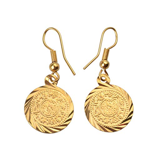 QIN Pendientes de Monedas de Metal árabe Golden Jewel Moneda Mujeres/niña Accesorios Vintage