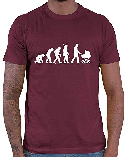 HARIZ Herren T-Shirt Papa Evolution 2 Papa Geburtstag Inkl. Geschenk Karte Wein Rot M