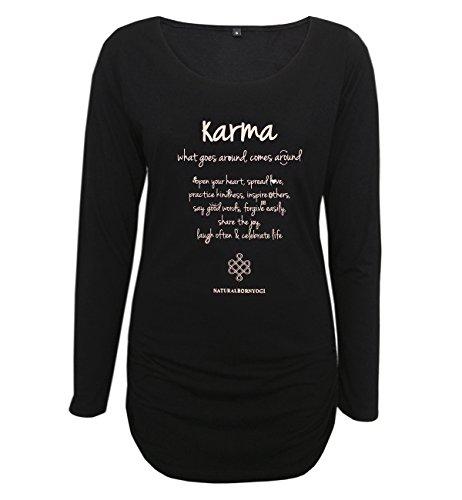 Natural Born Yogi Damen-Yoga & Pilates Karma Deluxe Yoga Langarmshirt, Schwarz, L