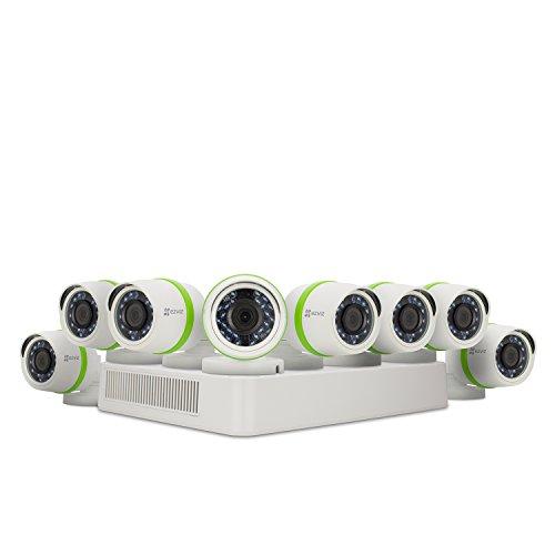 EZVIZ FULL HD 1080p Outdoor Surveillance System, 8 Weatherproof HD Security Cameras, 8 Channel 2TB DVR Storage, 100ft Night Vision, Customizable Motion Detection