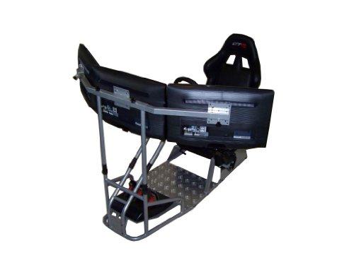Simulateur de course GTR Modèle GTSF avec vrai siège de course Cockpit de simulation de course avec support pour levier de vitesse et socle de moniteur simple ou triple