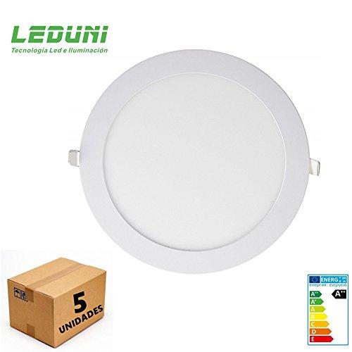LEDUNI ® Pack de 5 Unidades Downlight Placa Panel LED Redondo 20W ...