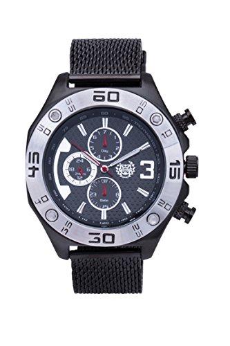 ShoppeWatch Mens Black Mesh Watch Metal Band Multifunction Large Face 50mm Business Work Dress Wacht Reloj Negro para Hombre AQ202827G