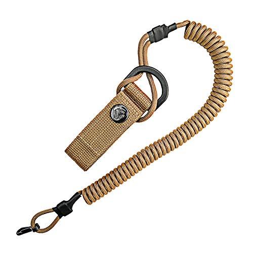 Cable en espiral, llavero elástico de Paracord, Lanyard, cinta para llaves, correa elástica, soporte RSG con mosquetón (marrón)
