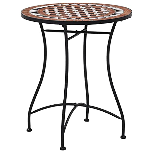 LUYIPINGQIWND Colore: Marrone, Nero e Crema Tavolino da Bistrot con Mosaico Marrone 60 cm in Ceramica Mobili da Giardino