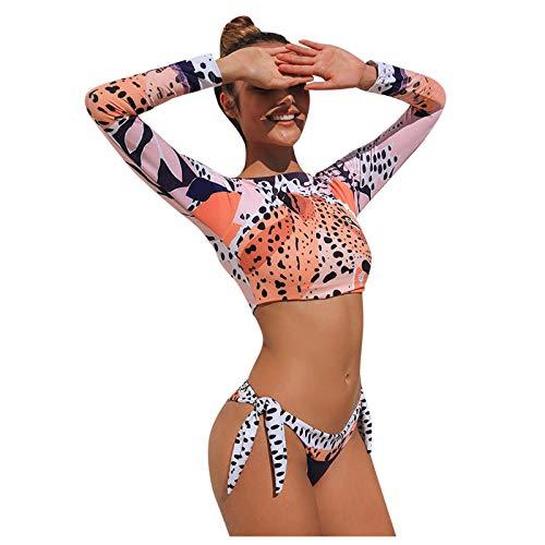 YAnGSale Women's One Piece Swimsuits Printing Bathing Suits Long Sleeve Surfsuit Swimjupmsuit with Bikini Bottoms (Orange, M)