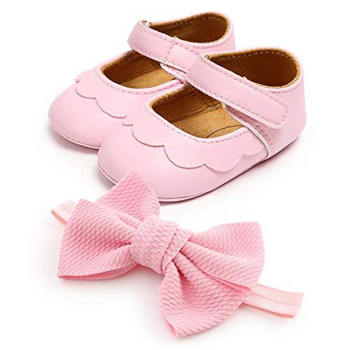 Zapatos de Bebé Niñas y Diadema Set de Regalo de Bautismo 2 Piezas, 0-18mese Niña Recié Nacido Primeros Pasos Zapatos Antideslizante Bautizo Boda Fiesta Zapatos Bebé Prewalker Zapatos de Verano