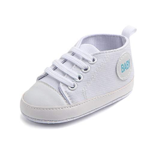 Babyschuhe Auxma Baby Schuhe Sneakers aus Leinwand mit weichen und rutschfesten Sohle Für 3-6 6-12 12-18 Monat (3-6 M, Weiß)