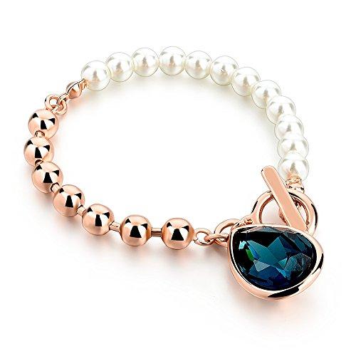 NOBRAND Amistad Pulseras de Cuentas de Color Dorado Pulseras de Perlas de imitación con Pulsera de Piedras Azules