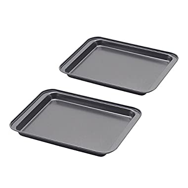 Nonstick Small Baking Sheet 2 Pack, SS&CC 8 Inch Carbon Steel Half Toaster Oven Pan Tray Replacement, Heavy-gauge Steel, Set of 2, Perfect for RV Oven