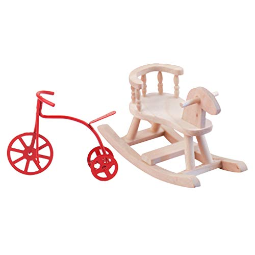 Harilla 12th Miniatures Cockhorse Chair & Tricycle Bike Model Baby Room Life Scene
