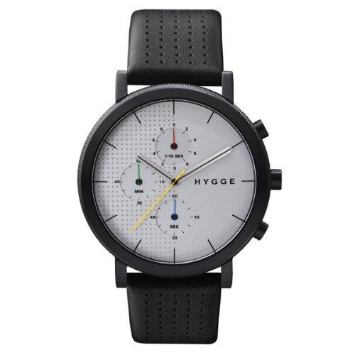 Hygge 2204 MSL2204BC (CH) -Orologio unisex al quarzo, quadrante con cronografo in color argento e cinturino in pelle nera