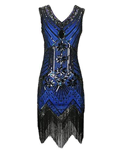 1920er Jahre Flapper Gatsby Pailletten Fransen V-Ausschnitt langes Kleid Blau Womens Girls 20er Jahre Stil ausgefallene Perlen Kostüm Größe 32/34 (Blau, EU 32-34)