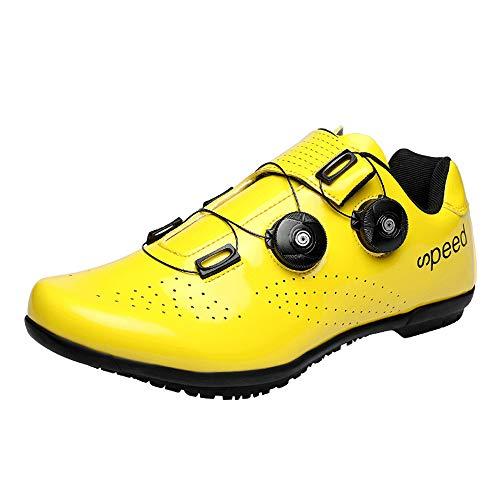 tangjiu Atmungsaktive Fahrradschuhe, Alle Jahreszeiten für Männer und Frauen, Rennrad, Mountainbike, rutschfeste Turnschuhe (Gelb,42EU)