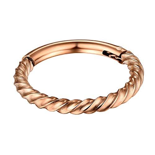 AZARIO LONDON Fortsätt vridna rep 16 mått 316L kirurgiskt stål klickare gångjärn segment ring piercing smycken e rostfritt stål, colore: Rosa guld, cod. GES-MP-031-16G-6MM-RG