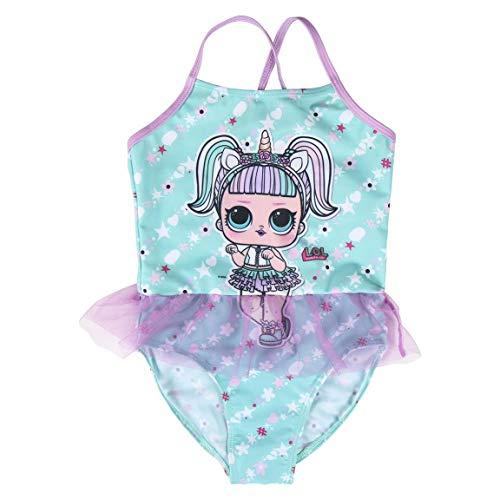 L O L Surprise! Costume da Bagno Unicorno per Bambina, Costume Intero per Bambini, Gonna Tutu Tulle 3D, Piscina Spiaggia Vacanze, Regalo per Bambina, 5 ai 12 Anni (5 Anni, Verde)