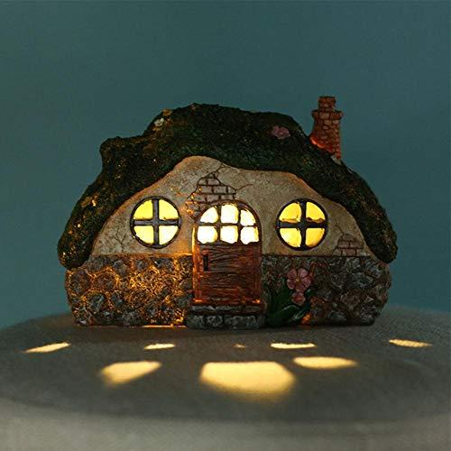 Fairy Garden LED Solar Licht Zubehör - handbemalte Miniatur Fairy House Fairy House Figur Indoor & Outdoor Urlaub Ornamente Geschenk für Mädchen Jungen Erwachsene, Yard Lawn Decor