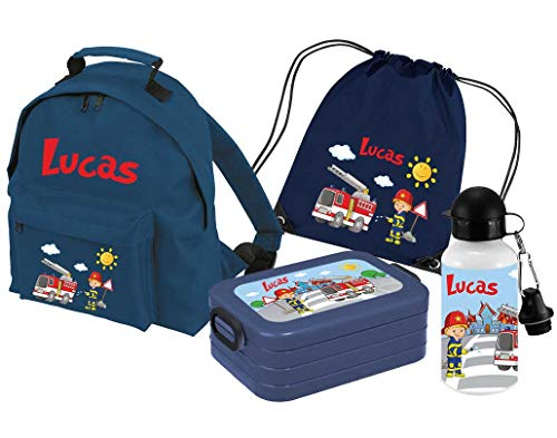 Mein Zwergenland | Personalisertes Kindergartenrucksack-Set | Kinderrucksack Classic mit Name | Lunchbox Maxi mit Name | Turnbeutel mit Name | Personalisierte Trinkflasche | Navy | Feuerwehr