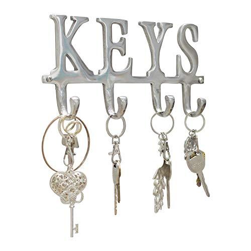 "Comfify Key Holder ""Keys"" – Wall Mounted Key Holder - 4 Key Hooks Rack - Decorative Cast Aluminum Key Rack - Polished Finish - with Screws and Anchors (Keys AL-1507-20)"