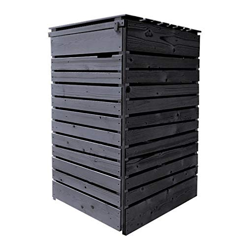 Lukadria Mülltonnenbox Mülltonnenverkleidung Mülltonnecontainer Holz 120L - 240L Rückwand (für 1 Tonne, anthrazit)