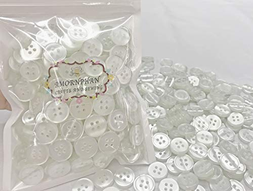 Amornphan 15mm.(5/8') 4 Holes Transparent White Color Buttons Flatback Sewing Crafts Shirt Cloths DIY Pack of 200 Pieces (Transparent)