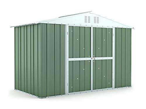 Notek Srl Box in Acciaio Zincato Casetta da Giardino in Lamiera 3.27 x 1.55 m x h2.17 m - 114 kg - 5.06 Metri Quadri (Verde)