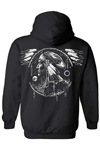 Unisex Zip Up Hoodie Dreamcatcher Native American Hawk: Black (Large)