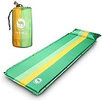 EKKONG Esterillas Autoinflables, Colchoneta de Camping con Bolsa, para Camping, Viajes, Senderismo, Mochilero, Playa, 190 x 68 x 3.5 cm (Verde)