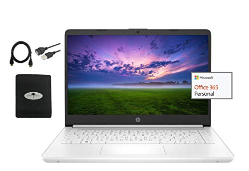 """2021 HP Stream 14"""" HD Laptop Light-weight, Intel Celeron N4020(Up tp 2.8GHz), 4GB RAM, 64GB eMMC Storage, Webcam, HDMI, 1 Year Office 365, Google Classroom or Zoom Compatible,w/Ghost Manta Accessories"""