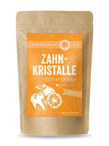 Bio Zahnkristalle Xylit & Orange | 40 Zahnpflege Kristalle | 152 g | 100% Bio-Xylit | Xylit Bonbons