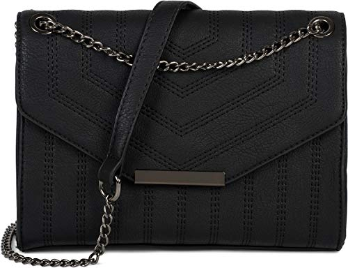 styleBREAKER dames schoudertas met siernaden en ketting, schoudertas, handtas, tas 02012308, Farbe:Zwart