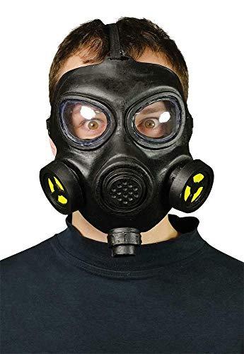 maschera antigas nera in plastica rigida con lenti rigide di grande effetto per resident evil e per gli umbrella cosplay. Solo frontale.