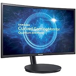 Samsung Monitor C24FG70, Monitor Curvo VA da Gaming, 24´´ Full HD, 1920 x 1080, 144 Hz, 1 ms, FreeSync, DP, HDMI, 16.7M di Colori, sRGB 125%, Game Mode, Quantum Dot, Base Semplice, Nero