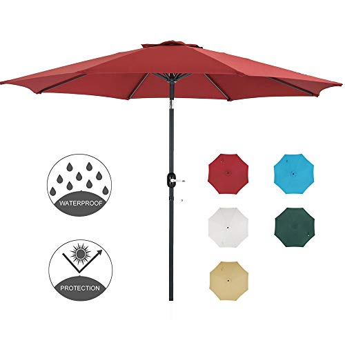 Patio Watcher 11-Ft Patio Umbrella Outdoor Umbrella with Push Button Tilt and Crank, 8 Steel Ribs, Red