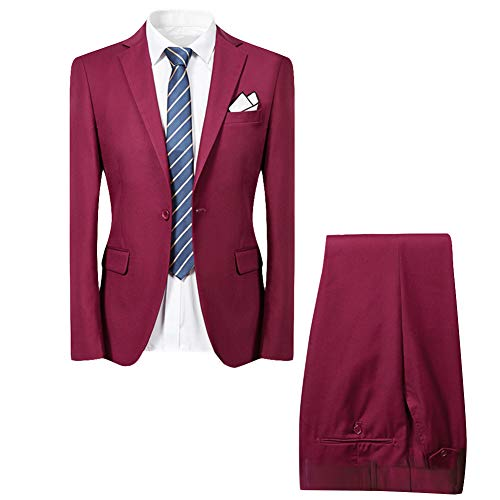 Allthemen Hochzeitsanzug Herren Anzug Slim Fit Herrenanzug Anzüge für Hochzeit Business Party Weinrot M