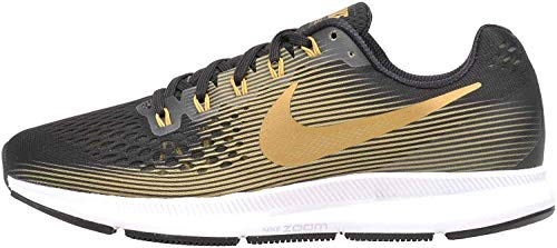 Nike Women's Air Zoom Pegasus 34 Wide Shoes (Black/Metallic Gold/Wheat Gold, 7)