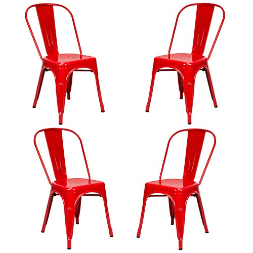 Vaukura Silla Oliix (Pack 4) - Silla Industrial Metálica Brillo (Rojo)