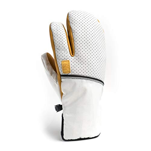 ESC Gloves VEXO Ski & Snowboard Insulated Waterproof Leather Mitten Featuring The HOT Box? - White &...