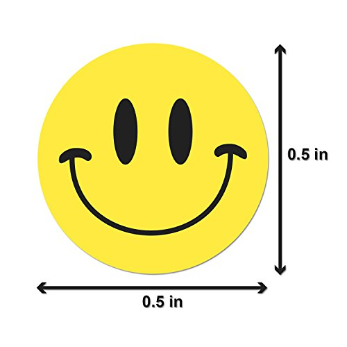 "Happy Face Smiley Face Labels Round Self Adhesive Circle Stickers (Yellow Black / .5"") - 300 Labels per Package Photo #2"