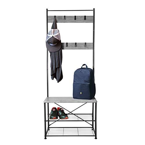 Zenvida Hall Tree Entryway Bench Shoe Storage Coat Rack Shelves Metal Frame Wood