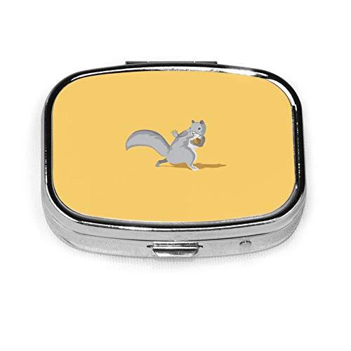 Pastillero cuadrado compacto con dos compartimentos, organizador de tabletas de medicina de bolsillo para viajes.