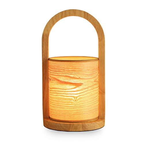 Nachttischlampe Log Tischlampe, Furnier Lampenschirm Massivholz Tischlampe, E27 Mit Schraubanschluss, Schlafzimmer, Wohnzimmer, Kinderzimmer, Studentenwohnheim, Couchtisch