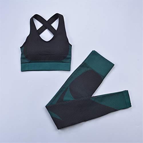 Hbao 2 Stück der Frauen Nahtlose Yogaklage Sport-BH und Leggings Joggen Fitness Anzug sexy Frau Workout Kleidung Strumpfhosen Fitness Sportanzug (Color : C, Size : Medium)